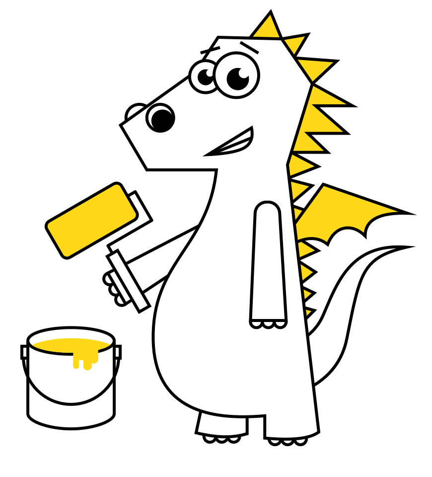 a cartoon dragon with painting roll